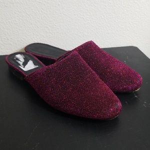 Asos hot pink shiny mules size 6